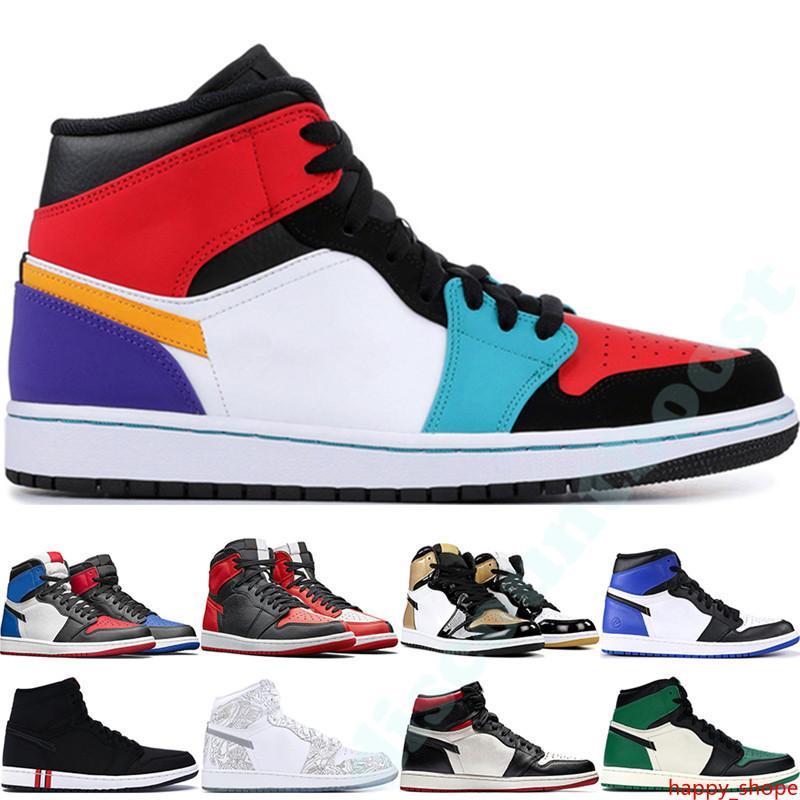 Erkek 1 yüksek OG basketbol ayakkabıları 1s NRG iglo yasaklı bukalemun gölge siyah beyaz parmak fil baskı Chicago kraliyet Parça Kırmızı Sneakers 40-47