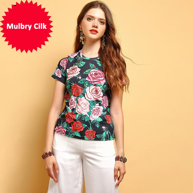 2019 Fashion Summer Tops Women's Gorgeous Crystal Beading Floral Printed Elegant Vintage Vacation Ladies T-shirt