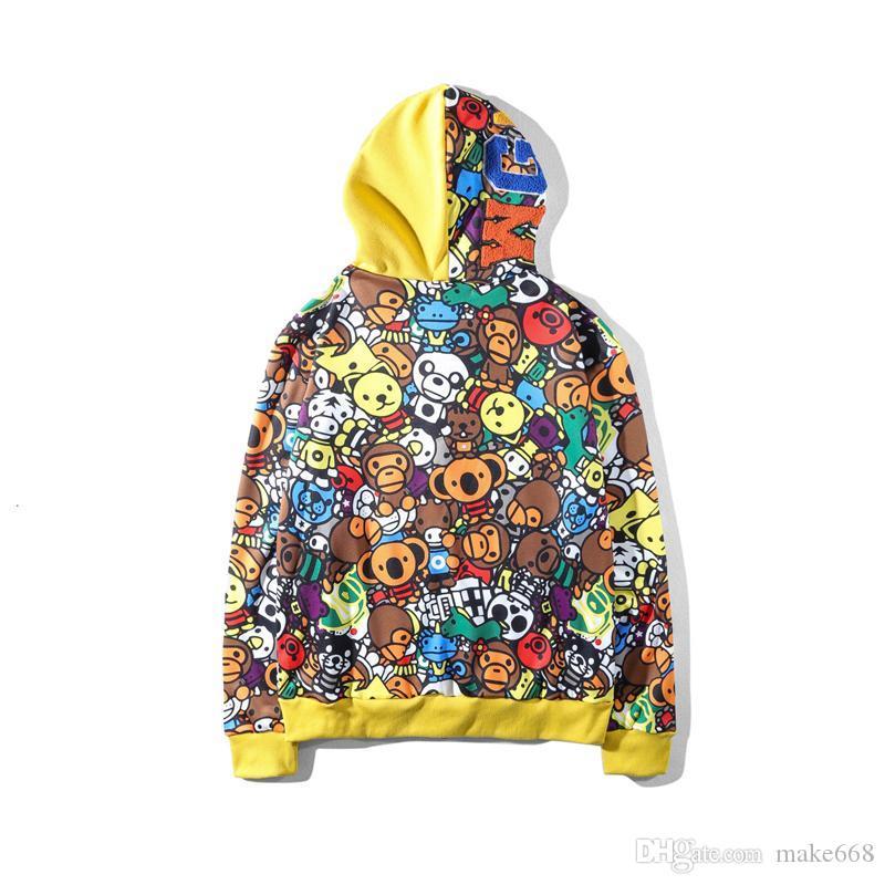 Otoño Invierno Adolescente Hip Hop Impresión de dibujos animados Sudaderas con capucha finas de Camo Ama Camo Chaqueta con cremallera de algodón