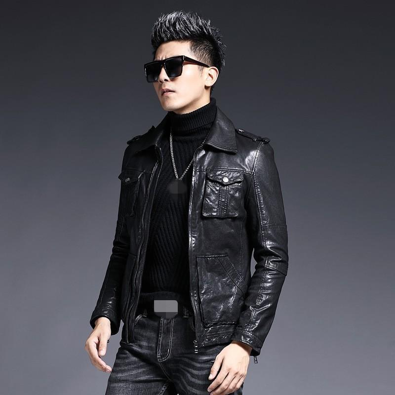 Brand Motorcycle Biker Sheepskin Short Coat Men Designer Slim Lapel Real Leather Jacket 2020 Winter Zip Outerwear Plus Size 4XL