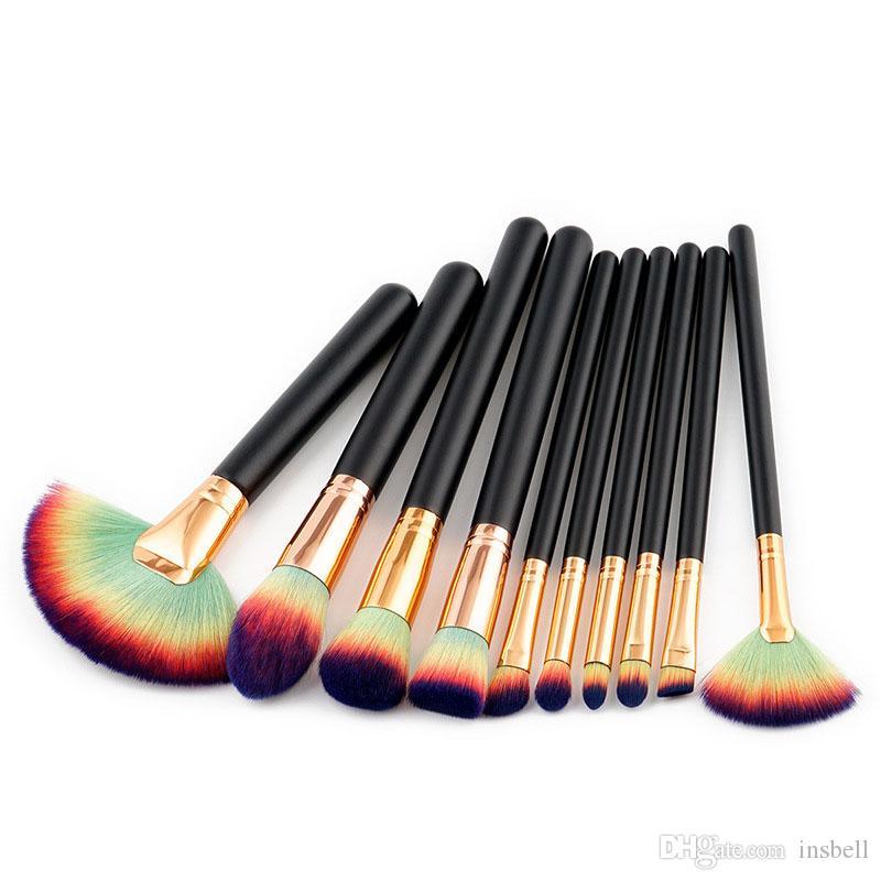 Maquillage Pinceaux 10pcs yeux fard à paupières Eyeliner Pinceau à lèvres Visage Blender Poudre Correcteur Maquillage Brosses Outils Kit
