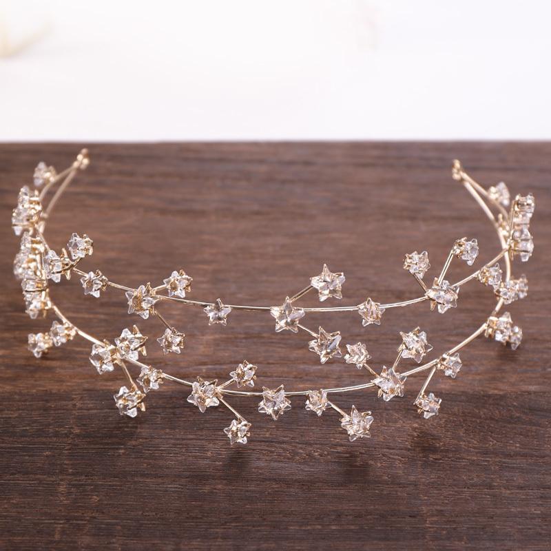 Accesorios para el cabello nupcial de oro de la vendimia Crystal Stars Bandas para el cabello Hairbands Wedding Crowns Nueva joyería del pelo del partido Headwear C19041101