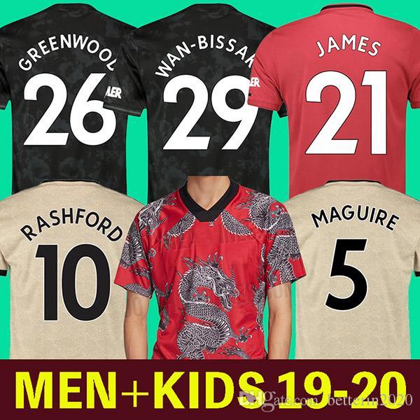 19 20 RASHFOR Fußball-Trikot vereint Mann Pogba Fußballhemd MAGUIRE Lingards Camiseta de futbol JAMES Manchester Utd WAN BISSAKA WALD
