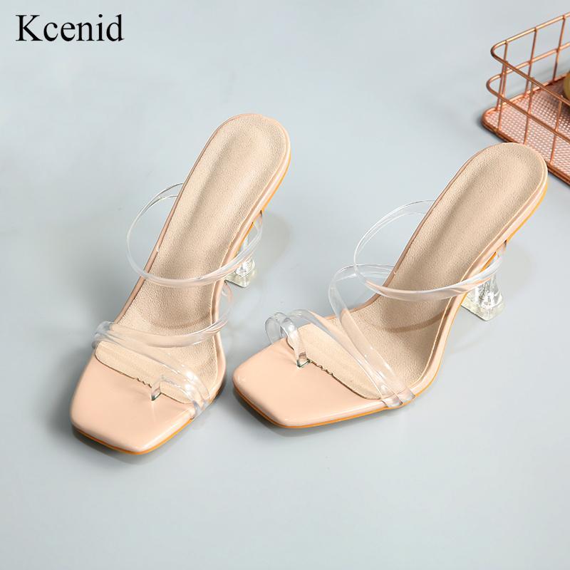 Kcenid الجديد strappy شفاف هلام اصبع القدم أحذية مربع عالية الكعب الصنادل النساء اضح النعال كعب الصيف الوجه يتخبط للنساء