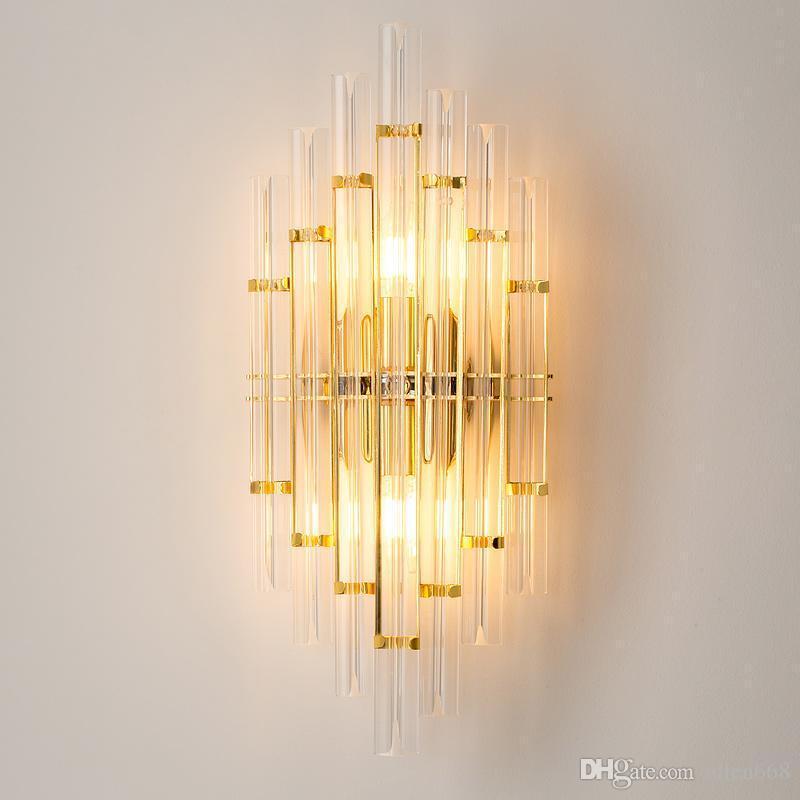 북유럽 크리스탈 유리 벽 램프 현대 럭셔리 간단한 거실 침실 침대 옆 램프 장식 홈 레스토랑 바 벽 보루 라이트