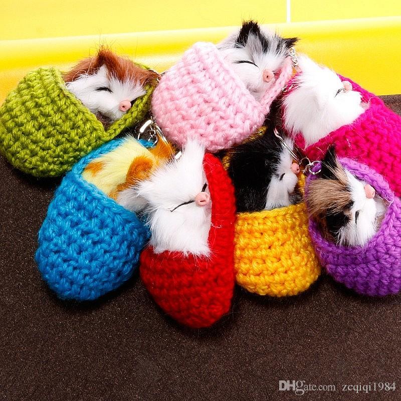 Sevimli uyku yavru anahtarlık kedi saç topu anahtarlık kolye yün terlik uyku yavru anahtar kolye çanta kolye