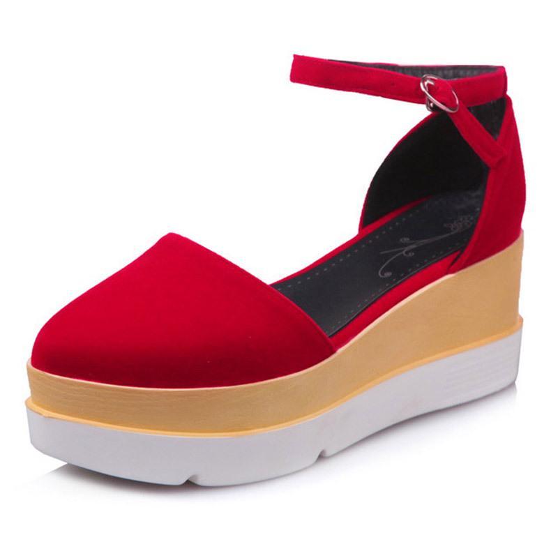 İçi boş SuedeGirls' Sandalet Büyük Beden Kalın Alt Toka Kadın ayakkabı Sünger Kek Prom Parti Formal Bayan Ayakkabıları İlkbahar 888-1 Güz