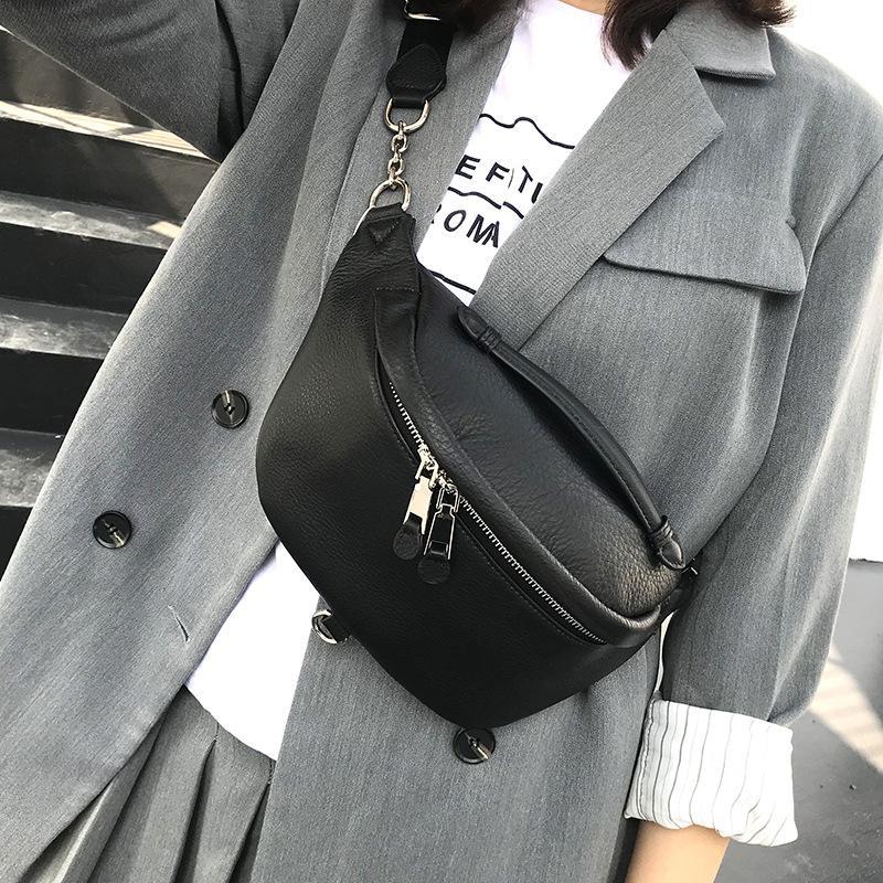 Peau de vache Sac de taille de femme en cuir véritable Crossboday Sac Zip argent de poche fonctionnelle Sac unisexe téléphone poitrine Sac ceinture