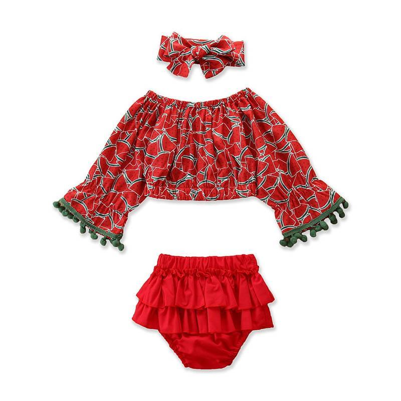 Efaster Toddler Baby Girls Watermelon Letter Print T-Shirt+Plaid Shorts Sets