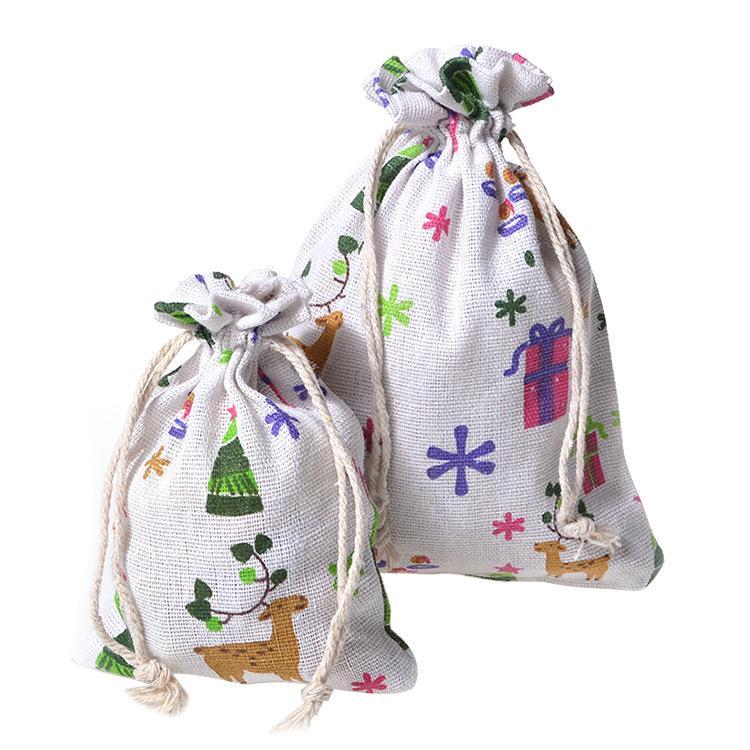 Impresso bolso pacote de algodão Christmas deer cordão saco de algodão férias linha de algodão embrulhar presentes bolsa de 50pc atacado