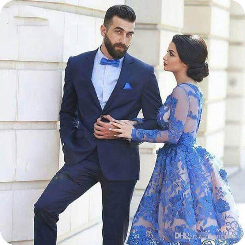 Marine-Blau-Bräutigam-Smoking der klassischen Männer Anzüge für Hochzeit 2Piece (Coat Pants) Slim Fit Kostüm Homme Mariage Terno Masculino Trajes de hombre