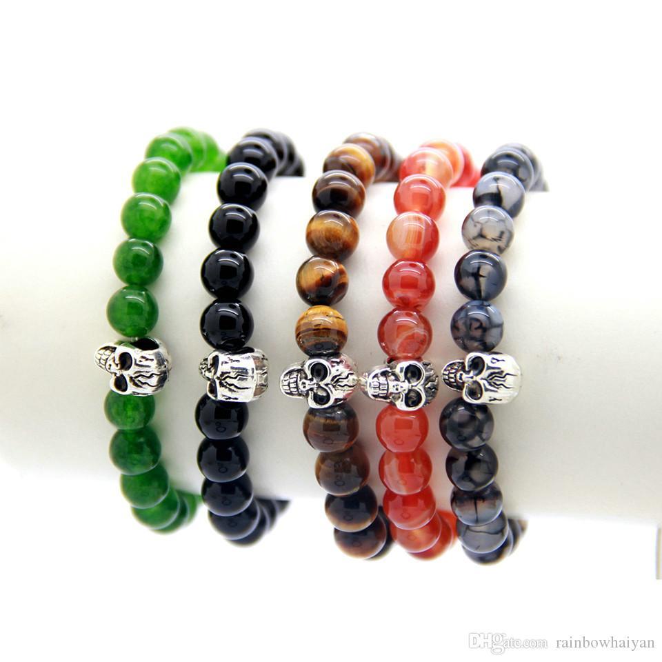 Nuovi braccialetti con perline all'ingrosso di alta qualità naturale grigio drago vene perline agata con braccialetto cranio argento per il regalo degli uomini