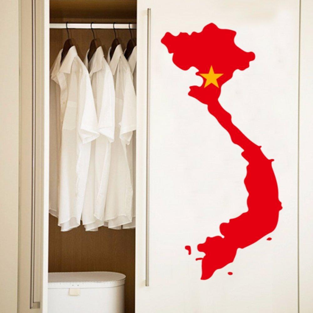 Vietnamca Vietnam Bayrağı Haritası Duvar Vinil Sticker Özel Ev Dekorasyon Duvar Sticker Düğün Dekorasyon PVC Duvar Kağıdı Moda Tasarım