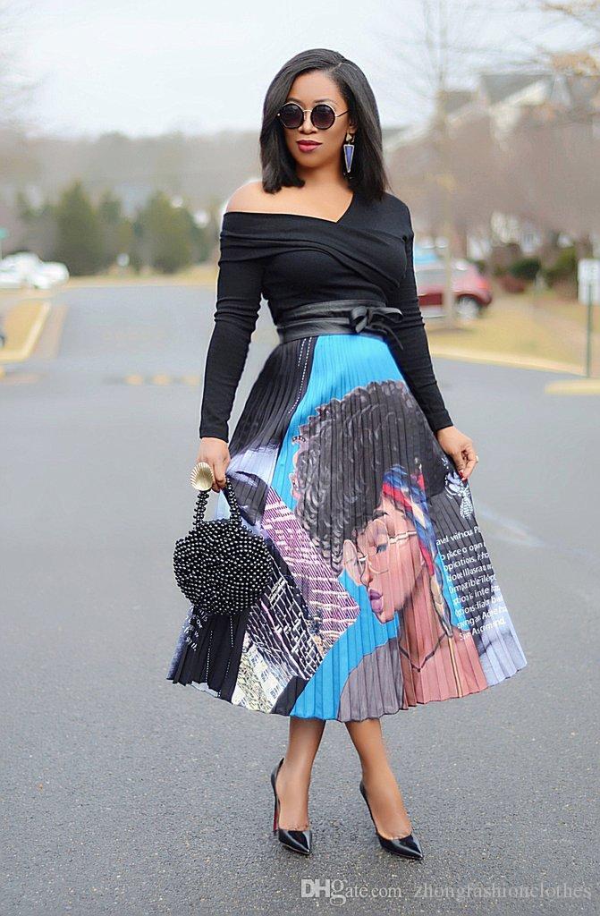 Женская Европа и Америка Мультфильм Портрет женщин печати плиссированные юбки музыкальный фестиваль клуба партии костюма Длинные юбки высокого Упругие юбка