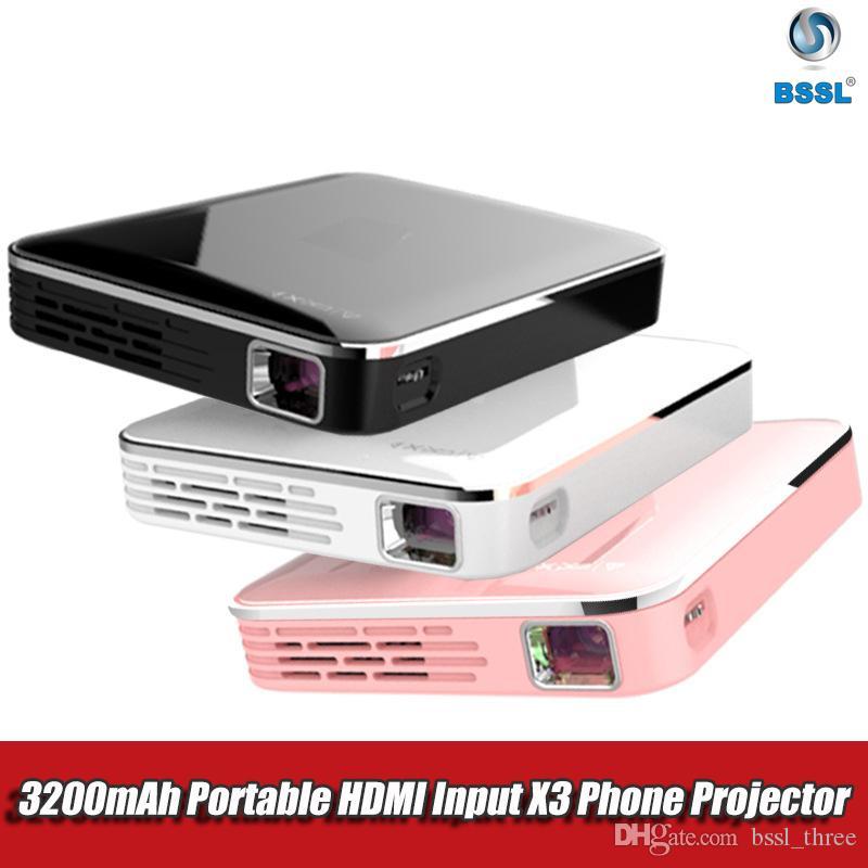 MINI X3 Pocket Projecteur DLP, Android recopie d'écran de l'iPhone, le système multimédia vidéo HDMI Beamer 3D, portable pour 1080P Home Cinema
