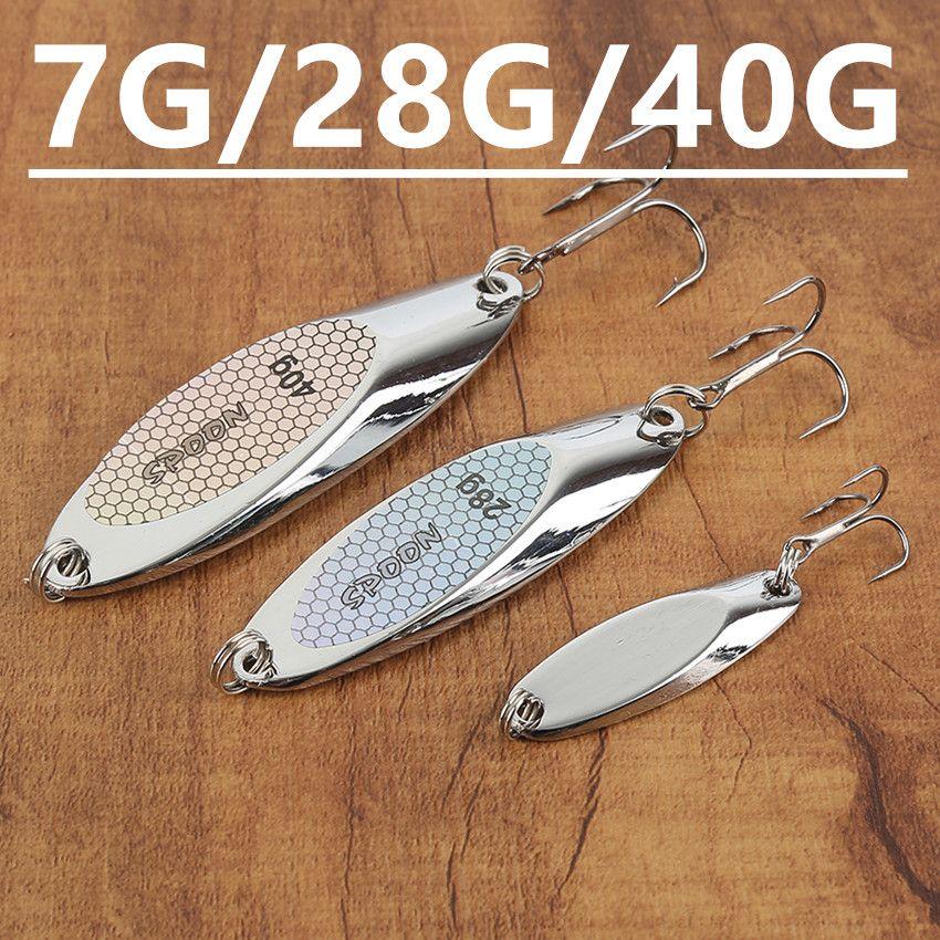 5pcs 7g/28g/40g(40mm/67.5mm/76mm) VIB Spoons Fishing Hooks Fishhooks 8/4/2# Hook Metal Baits & Lures Pesca Fishing Tackle D-010