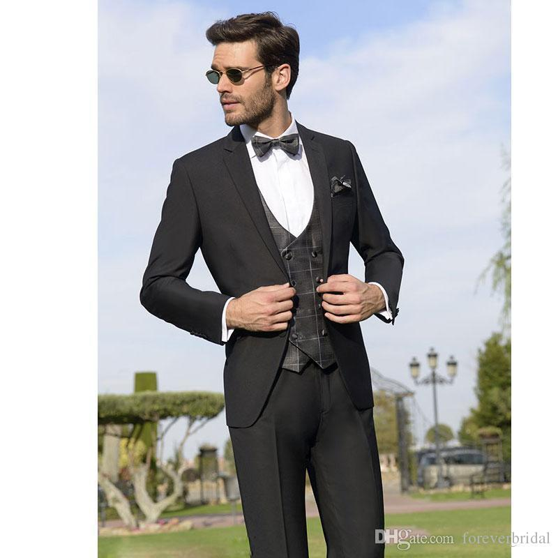 Classy Black Men Suits Three Pieces Groomsmen Wedding Tuxedos Notched Lapel Groom Suit With Jacket Pants Vest Cheap Prom Clothing