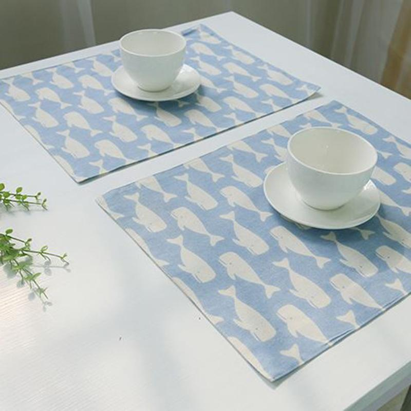 1 piece 3 colors whale print placemat home decoration table high quality tablecloth cushion accessories