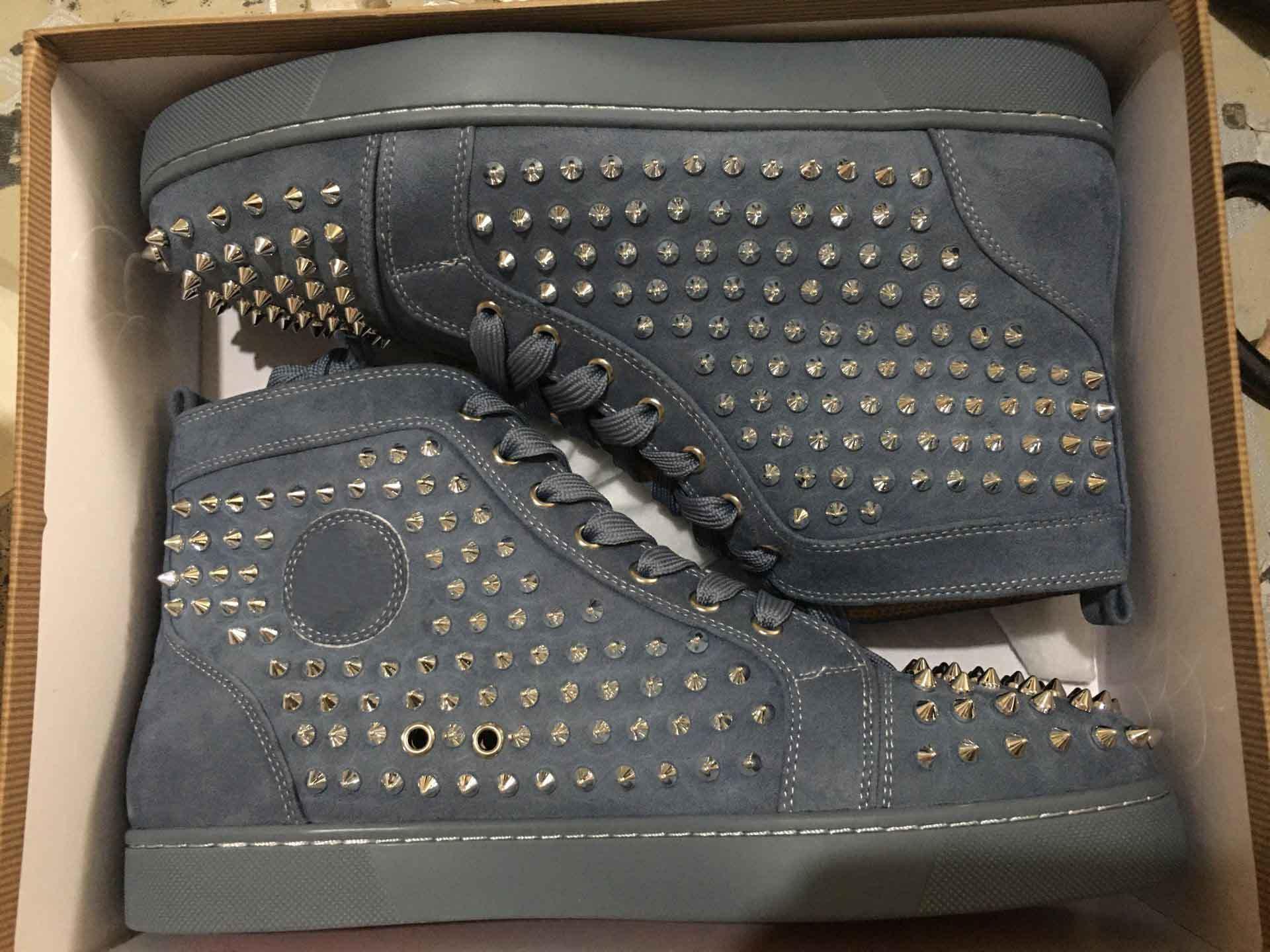 [real foto, com Box] Casual Designer Plano Famoso Suede couro dos homens Red inferior Sneakers Moda Hot Sale Homens Casual Shoes Skate