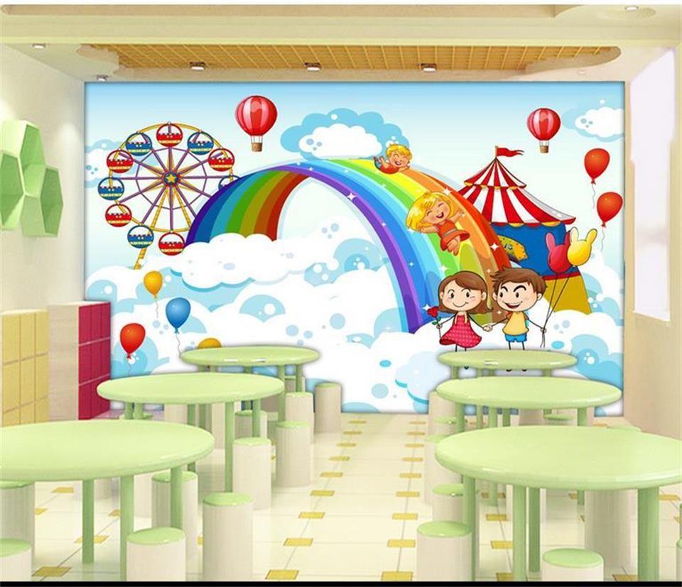 Tamaño personalizado papel tapiz fotográfico en 3D para niños habitación mural arco iris globo niños paraíso imagen en 3D sofá TV telón de fondo papel tapiz mural no tejido etiqueta
