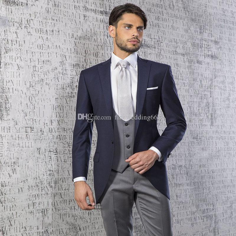 Новейшие однокнопочные жениха Notch отворот свадебные смокинги мужские костюмы свадьба / выпускной вечер / ужин лучший пиджак Man (куртка + галстук + жилет + брюки) B799