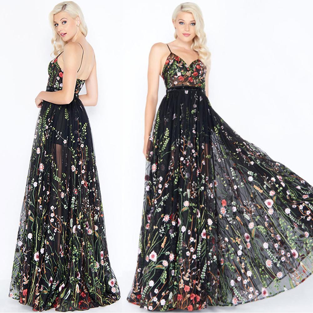 Großhandel Yiwa Frauen Mode Bestickte Sling Schulter Sexy V Ausschnitt  Abendkleid Robe Hochwertige Grau Tüll Floral Bedruckte Abendkleider Von