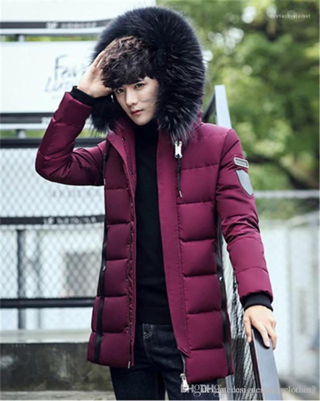Uzun Kollu Erkek Palto Moda Katı Renk Erkek Parkas ile Fermuar Kış Kalın Erkek ceket Aşağı Kapşonlu