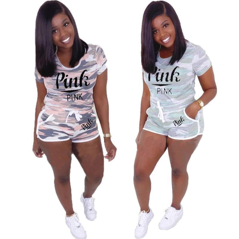 Beste Qualität zwei Stücke Tracksuits Frauen Set Tarnungsbuchstaben T-Shirt und Shorts Elastic Outfits