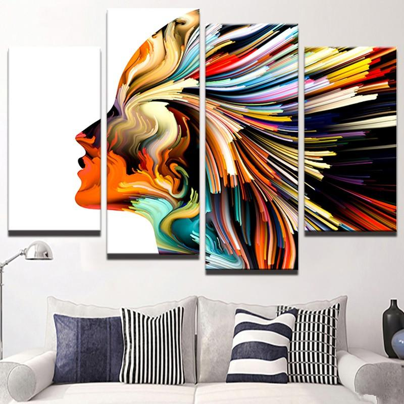 2021 Abstract Colorful Woman Hair Unframed Painting Modern Canvas Wall Art Home Decor Hd Printed Pictures 4 Panels Poster From Fashion Wallart 20 44 Dhgate Com