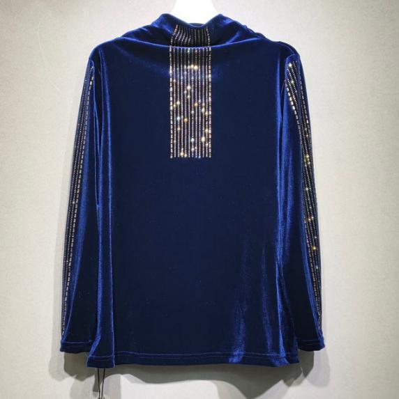 가을 겨울 플러스 사이즈 t- 셔츠 새로운 여성의 골드 벨벳 한국 벨벳 핫 드릴링 터틀 넥 풀오버 셔츠 t- 셔츠 탑스