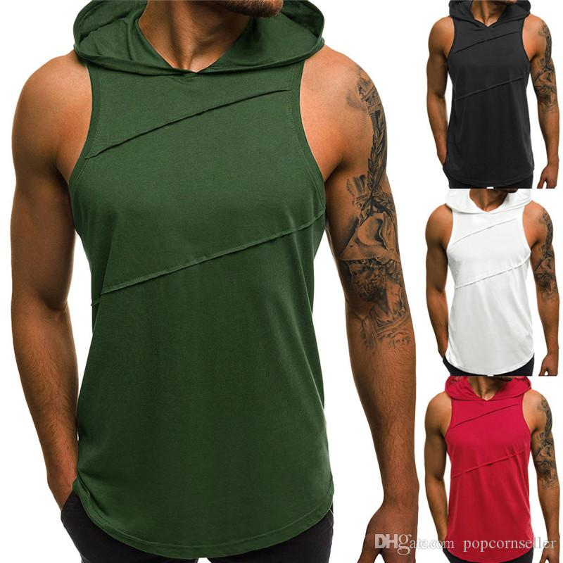 Yaz Erkek Tasarımcı Ekose Gömlek Kolsuz Kapüşonlu Yaka Erkek Uzun Streç Gömlek Casual Genç Erkek Giyim