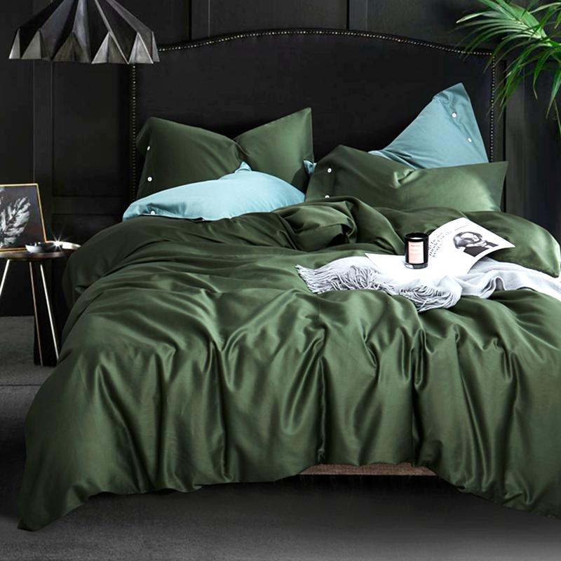 Egyptian long-staple cotton 600TC satin solid color bed set comfortable bedding set duvet cover sheets pillowcase Best gift #sw T200422