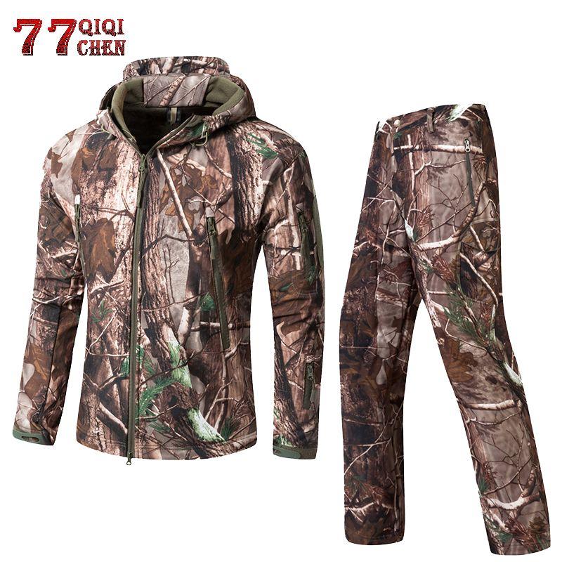 QIQICHEN Ropa táctica de los hombres de camuflaje Soft Shell al aire libre impermeable de la selva lurker Hunt Jacket + Pantalones traje