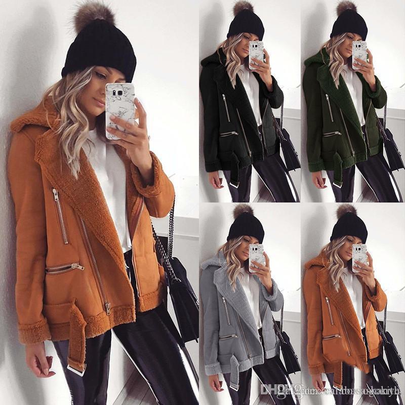 Le donne cappotti di inverno solido di colore casuale a maniche lunghe caldo del risvolto collo spesso Giacche Moda Donna Cappotti