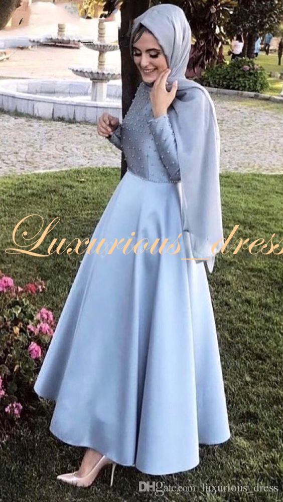 Grosshandel Elegante Lange Armel Grau Blau Arabisch Abendkleid Mit Hijab Muslimischen Knochel Langen Formale Kleider Perlen Dubai Abschluss Abschlussball Kleider 2019 Von Luxurious Dress 72 5 Auf De Dhgate Com Dhgate