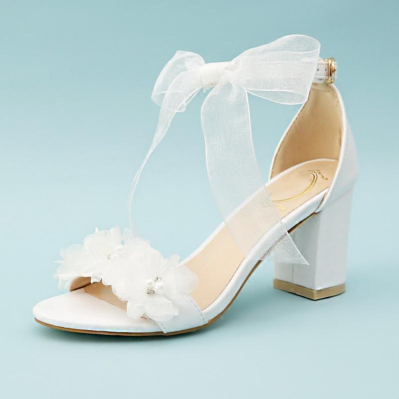 Women Sandals White Wedding Shoes