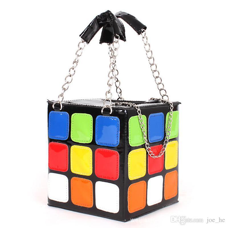 Diseñador- Bolsos de bolsos Tote Lick Box Magic Plaid Block Bag Women's Almuerzo Noche Bolso del arco iris Vintage Cubic Famosa - MF OTGQW