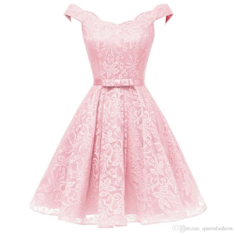 Vintage Rockabilly Prom Dresses Floral Lace Evening Gowns Off the Shoulder Midi Knee Length Cocktail Party Dress