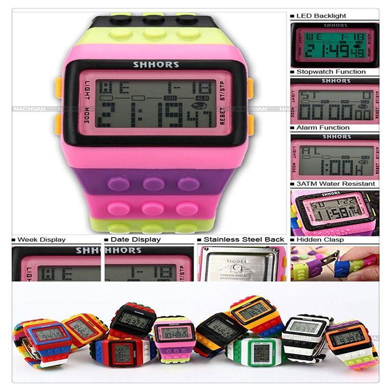 Mens-Damen-Blöcke Constructor-Digital-LED-Hintergrundbeleuchtung Alarm-Sport-Armbanduhr LED088 neuer Entwurfs-Blöcke Stil