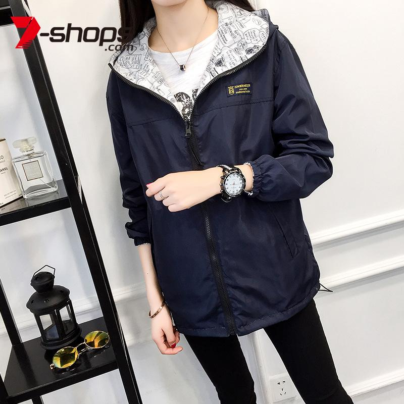 여성 재킷 7 숍 여성 자켓 코트 양면 봄 가을 코트 여성 고품질 캐주얼 귀여운 컬러 후드 겉옷