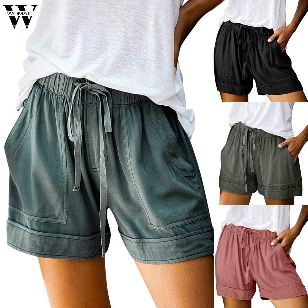 Breve Estate allentata corda di Womail Donne Tie Corto 2020 Sport Shorts elastico in vita casuale Cotone Lino pantaloncini rosa Pocket Beach P0 Y200512