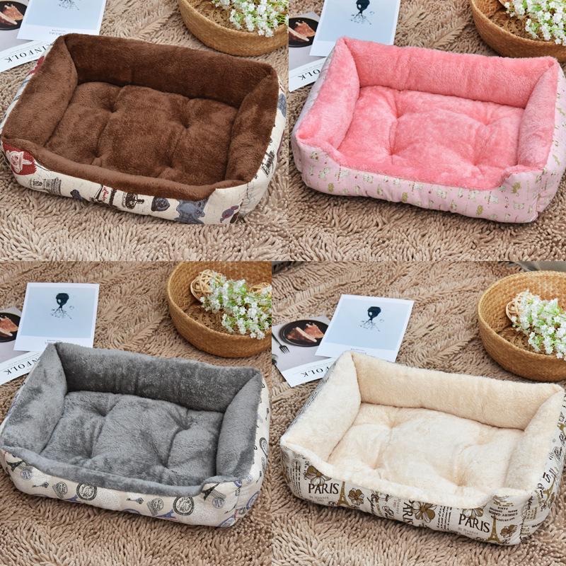 Plus Size Fashion Cat Lits doux et chaud en polaire canapé-lit pour les petites grands chats Kennel Pet Kitten Dog House Produits Y200330