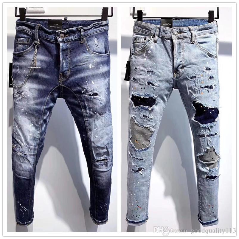 Compre 2020 De La Moda Jeans Rotos Hombre Del Disenador Pantalones Nuevo Estilo Casual Flaco Pantalon Para Hombre De Los Pantalones Vaqueros De Diseno De Caida De La Entrepierna Pantalones De Jogging