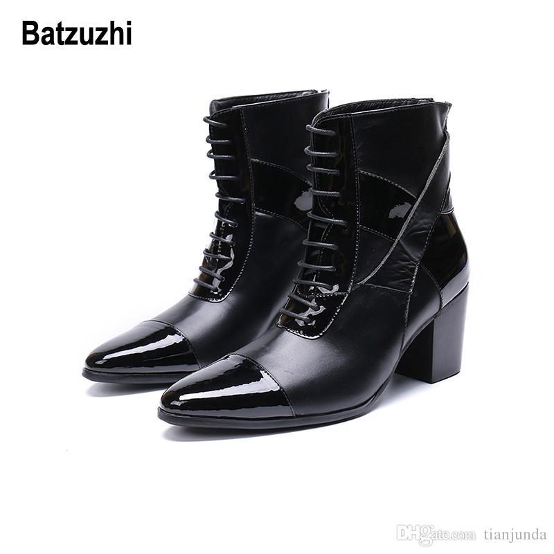 Batzuzhi Limited Edition 7cm Tacco alto da uomo Stivali a punta corta Stivali eleganti in pelle neri Uomo Bello Lace-up botas hombre