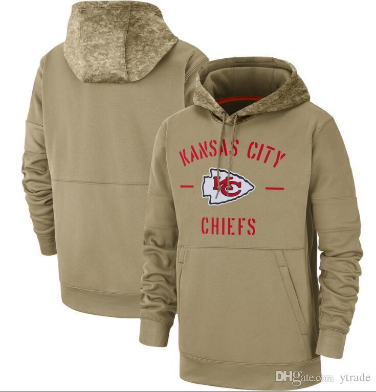 Nueva camiseta de Kansas City Tan Jefe sudaderas con capucha 2020 Hombres Mujeres Jóvenes Salute a la línea lateral de Servicio Therma Rendimiento Pullover sudaderas