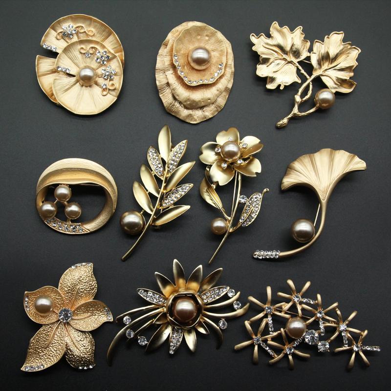 Flor elegante de la hoja de oro broches de accesorios de la joyería del banquete de boda de las mujeres de la bufanda de cuello de vestir traje de pasadores clips