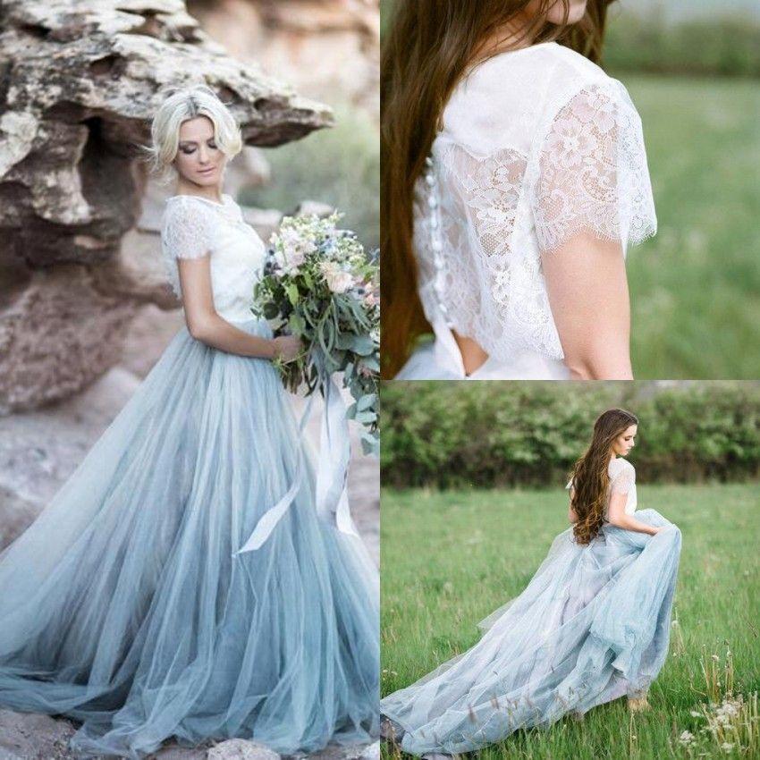 2019 Fairy Beach Boho Dentelle Robes de mariée une ligne Soft Tulle Cap Manchons Backless Bleu Light Blue Jupes Plus Taille Bohemian Robe de mariée