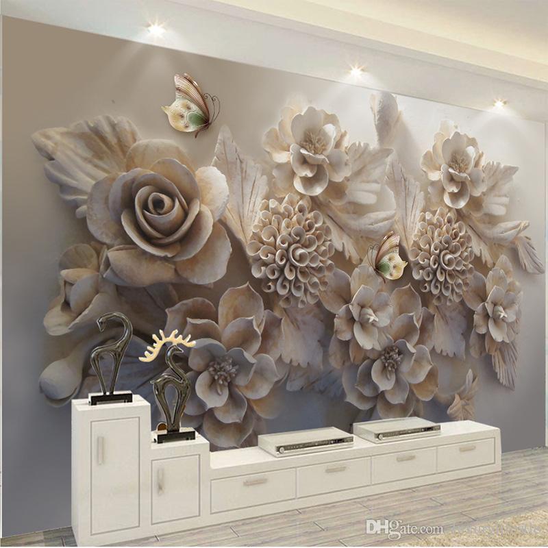 Dropship sur mesure Peinture murale 3D Fond d'écran esthétique européenne en trois dimensions 3D Relief fleur papillon Salon Canapé fond d'écran