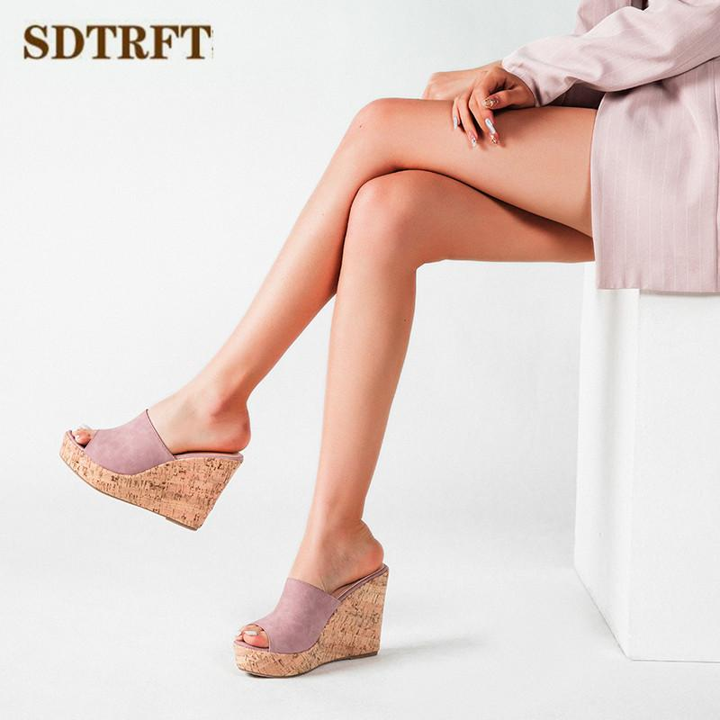 SDTRFT Sandals Women Slippers Casual Ladies Slides Outside 11cm high heels Shoes Female Flip Flops Wedges pumps femme pantoufles