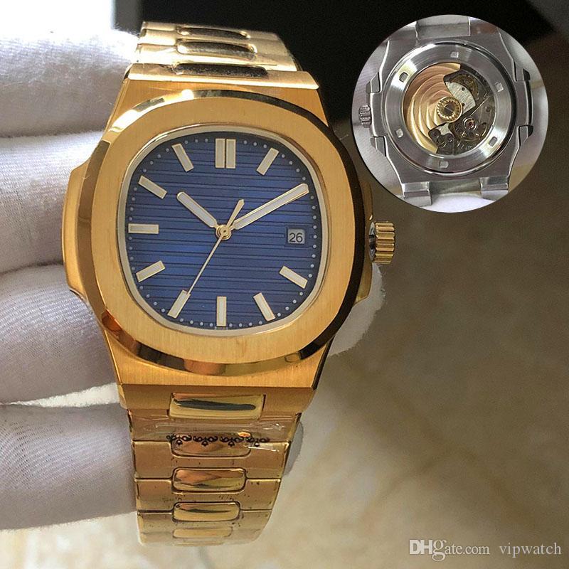 2020 relojes de los hombres automáticos de la correa de plata 5711 Hombres de acero azules mecánica Montre de luxe reloj de pulsera